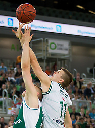 Edo Muric of Krka vs his brother Dino Muric of Union Olimpija during basketball match between KK Union Olimpija and KK Krka in 4th Final match of Telemach Slovenian Champion League 2011/12, on May 24, 2012 in Arena Stozice, Ljubljana, Slovenia.  (Photo by Vid Ponikvar / Sportida.com)
