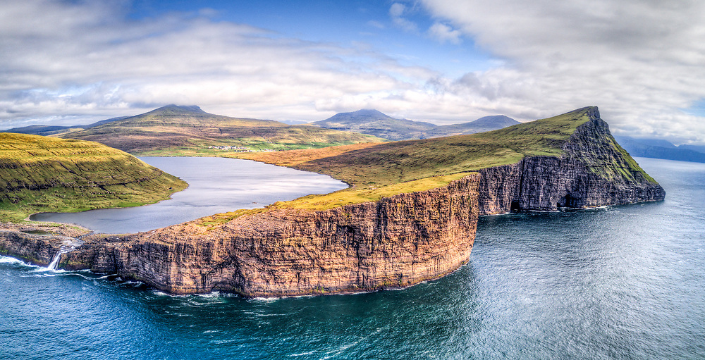 Panorama shot from drone of Letsivatn lake, from the sea side. Faroe Islands