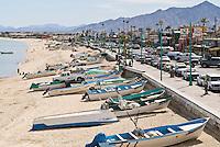 Beach covered in small fishing boat, San Felipe, Baja California, Mexico