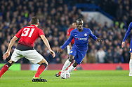 Chelsea Defender Ngolo Kante takes on Manchester United Midfielder Nemanja Matic during the The FA Cup 5th round match between Chelsea and Manchester United at Stamford Bridge, London, England on 18 February 2019.