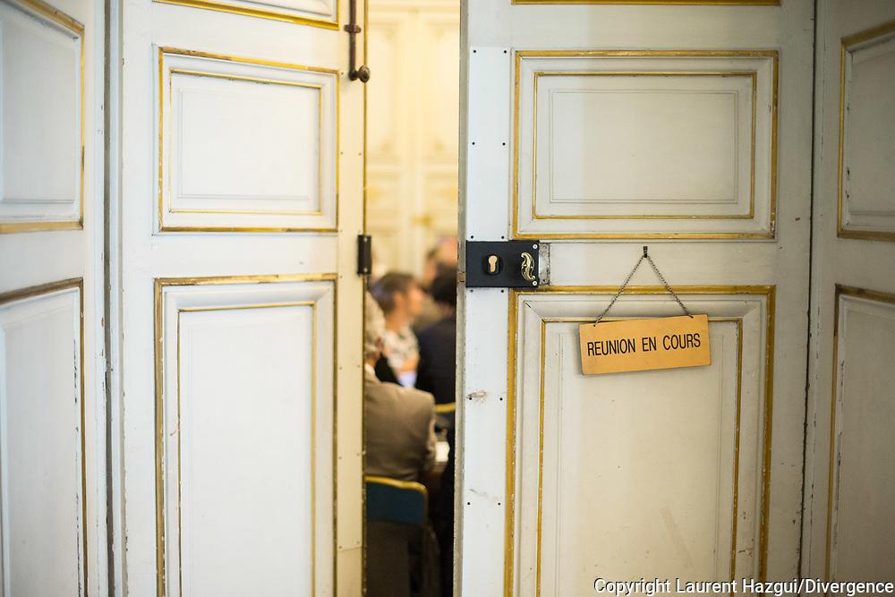 23062014. Paris. Conférence bancaire et financière pour la transition énergétique, présidée par Ségolène Royal, ministre de l'Ecologie, et Michel Sapin, ministre des Finances.