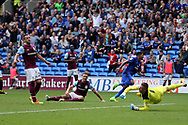 John Terry, the Aston Villa captain (l) looks on dejected as Nathaniel Mendez-Laing of Cardiff city © runs away to celebrate after he scores his teams 3rd goal  EFL Skybet championship match, Cardiff city v Aston Villa at the Cardiff City Stadium in Cardiff, South Wales on Saturday 12th August 2017.<br /> pic by Andrew Orchard, Andrew Orchard sports photography.