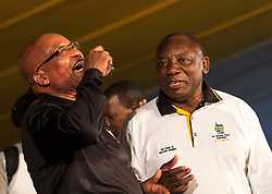 Dec. 20 2012 - Mangaung, South Africa - JACOB ZUMA, left, elected President of the African National Congress, ANC, shares a laugh with his newly elected deputy busunessman CYRIL RAMAPHOSA, right, on the last day of the ANC's 53rd conference which saw Zuma tighten his hold on the ANC..(Credit Image: © Greg Marinovich/ZUMA Wire/ZUMAPRESS.com)