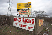 An advertisement for stock car and banger racing taking place at the motorsport venue Arena Essex raceway..