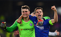 Football - 2018 / 2019 UEFA Europa League - Semi-Final, Second Leg: Chelsea (1) vs. Eintracht Frankfurt (1)<br /> <br /> Chelsea's Cesar Azpilicueta celebrates with Kepa Arrizabalaga after their 4-3 penalty shoot out victory after the scores finished 1-1 after extra time, at Stamford Bridge.<br /> <br /> COLORSPORT/ASHLEY WESTERN
