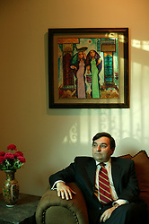 Feisal Istrabadi, senior legal advisor to Governing Council member Adnan Pachachi, is seen in his office in Baghdad, Iraq, Feb. 12, 2004. Istrabadi, an Iraqi-American who works out of Chicago as a trial lawyer, is one of the primary authors of the International Transitional Laws in Iraq.