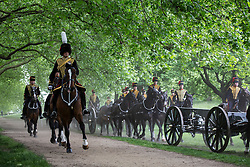 © licensed to London News Pictures. London, UK 10/06/2013. The King's Troop Royal Horse Artillery marching in Green Park before firing a 41 gun salute in honour of the Duke of Edinburgh's 92nd birthday. Photo credit: Tolga Akmen/LNP