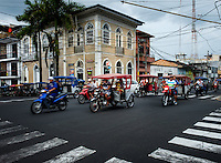IQUITOS, PERU - CIRCA OCTOBER 2015:  Street in Iquitos, a city in the Peruvian Amazon.