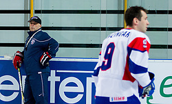 Matjaz Kopitar, head coach and Tomaz Razingar during practice session of Slovenian National Ice Hockey team first time in Arena Stozice before 2012 IIHF World Championship DIV I Group A in Slovenia, on April 13, 2012, in Arena Stozice, Ljubljana, Slovenia. (Photo by Vid Ponikvar / Sportida.com)