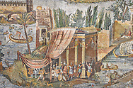 Detail picture of a temple surrounded by the flooded Nile  from the famous Roman Hellenistic Nilotic landscape Roman Palestrina Mosaic or Nile mosaic of Palestrina 1st or 2nd century BC. Museo Archeologico Nazionale di Palestrina Prenestino  (Palestrina Archaeological Museum), Palestrina, Italy..   Wall art print by Photographer Paul E Williams If you prefer visit our World Gallery Print Shop To buy a selection of our prints and framed prints desptached  with a 30-day money-back guarantee and is dispatched from 16 high quality photo art printers based around the world. ( not all photos in this archive are available in this shop) https://funkystock.photoshelter.com/p/world-print-gallery .<br /> <br /> USEFUL LINKS:<br /> Visit our other HISTORIC AND ANCIENT ART COLLECTIONS for more photos to buy as wall art prints  https://funkystock.photoshelter.com/gallery-collection/Ancient-Historic-Art-Photo-Wall-Art-Prints-by-Photographer-Paul-E-Williams/C00002uapXzaCx7Y