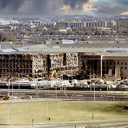 Aerial of the site  American Airlines Flight 77 crashed into the Pentagon on September 11, 2001. Pentagon a week after terrorist attack on 9/11