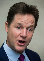 © Licensed to London News Pictures. 17/01/2016. London, UK. Former leader of the Liberal Democrat Party, NICK CLEGG being interviewed by TV as he leaves Broadcasting House in London. Photo credit: Ben Cawthra/LNP