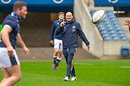 Scotland head coach, Gregor Townsend is all smiles as he watches his players train during the Scotland Team Run at BT Murrayfield, Edinburgh, Scotland on 22 October 2020, ahead of Scotland v Georgia.
