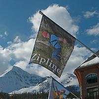 A flag promotes the zip line set up at Big Sky Resort, Big Sky, Montana