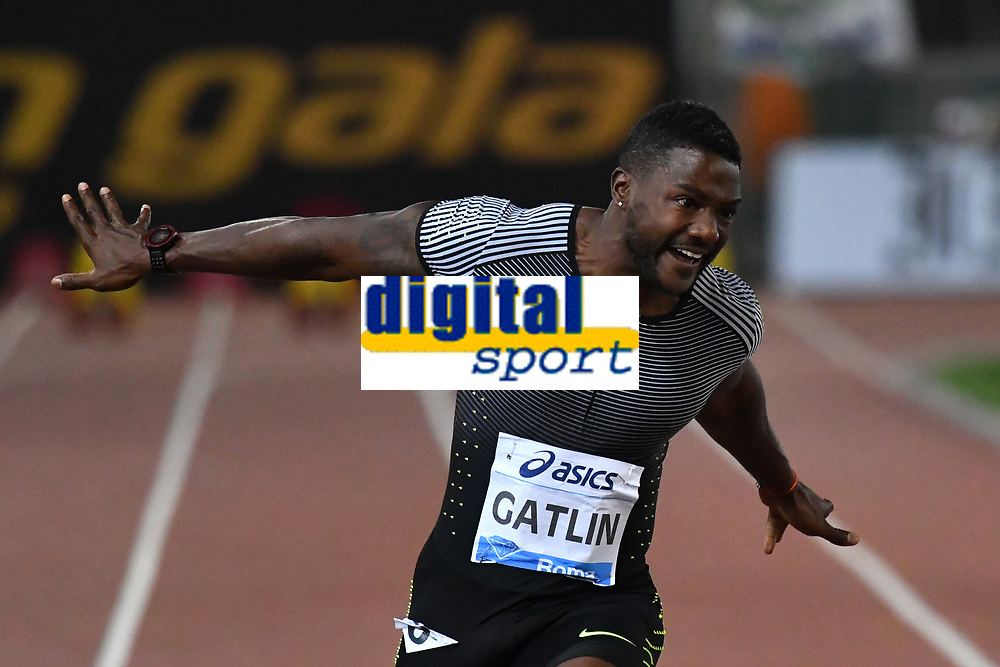 Justin GATLIN USA 100m Men Winner <br /> Roma 03-06-2016 Stadio Olimpico <br /> IAAF Diamond League Golden Gala <br /> Atletica Leggera<br /> Foto Andrea Staccioli / Insidefoto