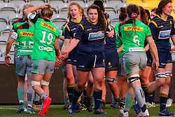 Flo Long of Worcester Warriors Women congratulates Bethan Dainton of Harlequins Women after the final whistle - Mandatory by-line: Nick Browning/JMP - 20/12/2020 - RUGBY - Sixways Stadium - Worcester, England - Worcester Warriors Women v Harlequins Women - Allianz Premier 15s