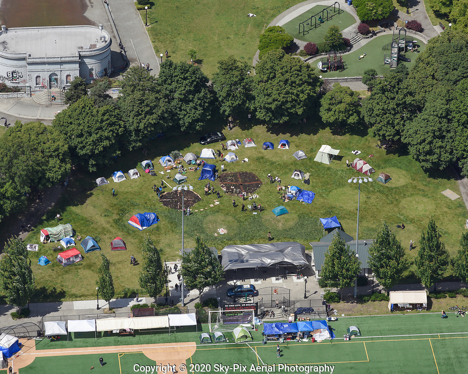 Oblique aerial view of tents and community gardens in Cal Anderson Park, during the Capitol Hill Occupied Protest.