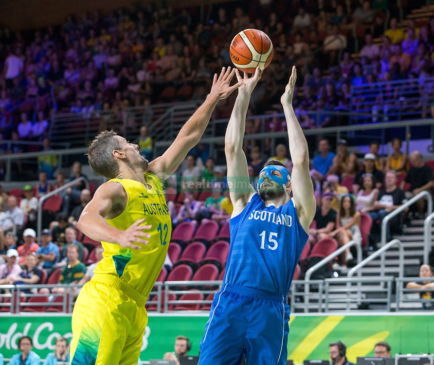 Handout photo dated 14/04/2018 provided by Jeff Holmes of Scotland's Alasdair Fraser in the Men's Semifinal Basketball at the Gold Coast Convention and Exhibition Centre during day ten of the 2018 Commonwealth Games in the Gold Coast, Australia. Issue date: Saturday April 14, 2018. See PA story COMMONWEALTH Basketball. Photo credit should read Jeff Holmes/PA Wire. NOTE TO EDITORS: This handout photo may only be used in for editorial reporting purposes for the contemporaneous illustration of events, things or the people in the image or facts mentioned in the caption. Reuse of the picture may require further permission from the copyright holder.