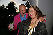 SIR RICHARD RODGERS AND ZAHA HADID, The Summer Party in association with Swarovski. Co-Chairs: Zaha Hadid and Dennis Hopper, Serpentine Gallery. London. 11 July 2007. <br /> -DO NOT ARCHIVE-© Copyright Photograph by Dafydd Jones. 248 Clapham Rd. London SW9 0PZ. Tel 0207 820 0771. www.dafjones.com.