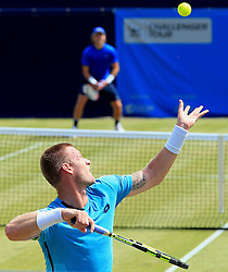 Sam Groth of Australia serves against Liam Broady of Great Britain  - Mandatory by-line: Matt McNulty/JMP - 31/05/2016 - TENNIS - Northern Tennis Club - Manchester, United Kingdom - AEGON Manchester Trophy