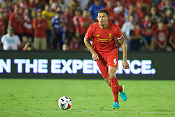 PASADENA, USA - Wednesday, July 27, 2016: Liverpool's captain Dejan Lovren in action against Chelsea during the International Champions Cup 2016 game on day seven of the club's USA Pre-season Tour at the Rose Bowl. (Pic by David Rawcliffe/Propaganda)