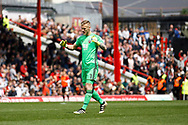 Brentford goalkeeper Daniel Bentley (1) celebrates a goal (score (Score 1-2) during the EFL Sky Bet Championship match between Brentford and Blackburn Rovers at Griffin Park, London, England on 7 May 2017. Photo by Andy Walter.
