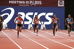 February 7, 2018 - Paris, Ile-de-France, France - From left to right :  Orlan Ombissa-Dzangue of France, Marie-Josee Ta Lou of Ivory Coast, Remona Burchell of Jamaica, Dina Asher Smih of Great Britain compete in 60m during the Athletics Indoor Meeting of Paris 2018, at AccorHotels Arena (Bercy) in Paris, France on February 7, 2018. (Credit Image: © Michel Stoupak/NurPhoto via ZUMA Press)