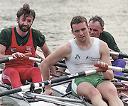 """Putney. London. GREAT BRITAIN;  left to right. Peter HAINING, Niall O'TOOLE and Frans GOEBEL.<br /> <br /> 1995 Thames World Sculling Championships, Putney to Mortlake. Championship Course, River Thames.<br /> <br /> [Mandatory Credit; """"Photo, Peter Spurrier/Intersport-images]"""
