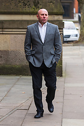 © Licensed to London News Pictures . 23/03/2021. Manchester , UK . Former Manchester United and England footballer RONNIE WALLWORK arrives at Minshull Street Crown Court . Wallwork and his co-accused David Garner face prison after previously pleading guilty to inflicting grievous bodily harm upon a man during an incident on 22nd December 2019 . Photo credit : Joel Goodman/LNP