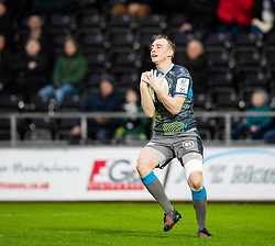 Luke Price of Ospreys in action during todays match<br /> <br /> Photographer Simon King/Replay Images<br /> <br /> European Rugby Champions Cup Round 5 - Ospreys v Saracens - Saturday 11th January 2020 - Liberty Stadium - Swansea<br /> <br /> World Copyright © Replay Images . All rights reserved. info@replayimages.co.uk - http://replayimages.co.uk