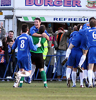Photo: Mark Stephenson.<br /> Chasetown v Cardiff City. FA Cup Third Round. 05/01/2008.<br /> Chasetown celebrate ther goal for 1-0