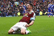 Robbie Brady of Burnley celebrates after scoring his teams 1st goal. Premier league match, Burnley v Chelsea at Turf Moor in Burnley, Lancs on Sunday 12th February 2017.<br /> pic by Chris Stading, Andrew Orchard Sports Photography.