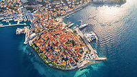 Aerial view of historical city of Korcula on Korcula island in Croatia. Belived to be a birthplace of Marco Polo.