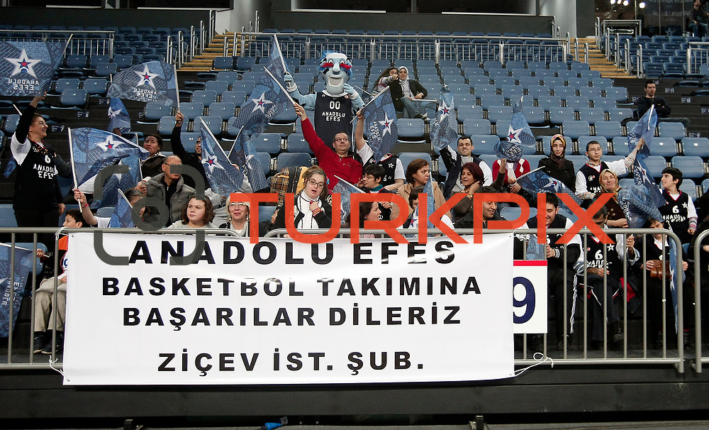 Anadolu Efes's supporters during their Turkish Basketball League match Anadolu Efes between Turk Telekom at Arena in Istanbul, Turkey, Wednesday, January 04, 2012. Photo by TURKPIX