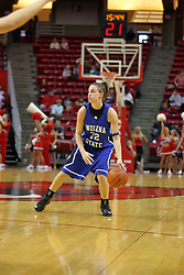 19 January 2008: Kara Schilli controls the ball for the Sycamores.  Both the Indiana State Sycamores and the Illinois State Redbirds came to this game tied for 1st place and defeated in the Missouri Valley Conference.  The Redbirds in their 11th consecutive game 77-70 on Doug Collins Court inside Redbird Arena in Normal Illinois
