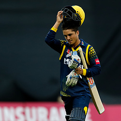 Glamorgan's Kieran Carlson dejected after getting out<br /> <br /> Photographer Simon King/Replay Images<br /> <br /> Vitality Blast T20 - Round 14 - Glamorgan v Surrey - Friday 17th August 2018 - Sophia Gardens - Cardiff<br /> <br /> World Copyright © Replay Images . All rights reserved. info@replayimages.co.uk - http://replayimages.co.uk