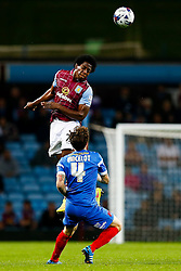 Carlos Sanchez of Aston Villa heads the ball - Photo mandatory by-line: Rogan Thomson/JMP - 07966 386802 - 27/08/2014 - SPORT - FOOTBALL - Villa Park, Birmingham - Aston Villa v Leyton Orient - Capital One Cup Round 2.