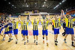 Sime Ivic of RK Celje PL, Blaz Janc of RK Celje PL, Luka Zvizej of RK Celje PL, Gal Marguc of RK Celje PL, Povilas Babarskas of RK Celje PL and Blaz Blagotinsek of RK Celje PL celebrate after winning during handball match between RK Celje Pivovarna Lasko and RK Gorenje Velenje in Eighth Final Round of Slovenian Cup 2015/16, on December 10, 2015 in Arena Zlatorog, Celje, Slovenia. Photo by Vid Ponikvar / Sportida