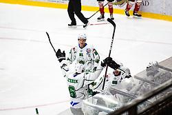 HK SZ Olimpija celebrating goal during summer Hockey League match between HK SZ Olimpija and HDD SIJ Jesenice, on September 12, 2020 in Ice Arena Bled, Bled, Slovenia. Photo by Peter Podobnik / Sportida