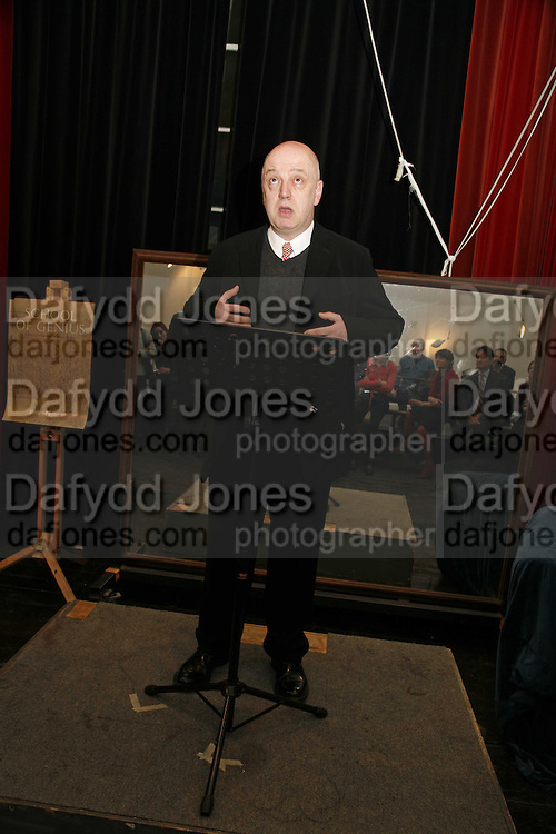 James Fenton, Book Launch of ' School of Genius' by James Fenton. Life Room of the Royal academy Schools. Royal academy of arts. London W1. 6 April 2006. ONE TIME USE ONLY - DO NOT ARCHIVE  © Copyright Photograph by Dafydd Jones 66 Stockwell Park Rd. London SW9 0DA Tel 020 7733 0108 www.dafjones.com