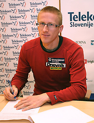Matic Osovnikar when Athletic Federation of Slovenia (AZS) and top Slovenian athletes sign a contract of sponsorship, on February 14, 2008 in M-Hotel, Ljubljana, Slovenia. (Photo by Vid Ponikvar / Sportal Images)