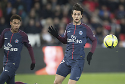 Javier Pastore and Neymar Jr of Paris Saint-Germain in action during the Ligue 1 match between Paris Saint Germain and RC Strasbourg at the Parc des Princes in Paris, FRANCE on February 17, 2018.Paris Saint Germain won RC Strasbourg with 5-2 (Credit Image: © Jack Chan/Chine Nouvelle/Xinhua via ZUMA Wire)