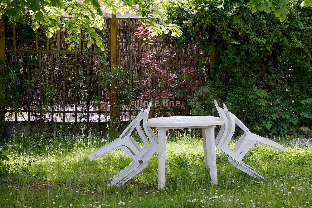 garden chairs in garden