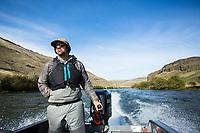 Steelhead fly fishing on the Deschutes River in eastern Oregon.