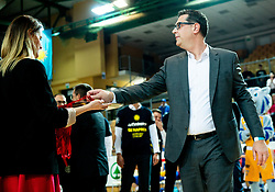 Mayor of Koper Ales Brzan at trophy ceremony during basketball match between KK Sixt Primorska and KK Hopsi Polzela in final of Spar Cup 2018/19, on February 17, 2019 in Arena Bonifika, Koper / Capodistria, Slovenia. KK Sixt Primorska became Slovenian Cup Champion 2019. Photo by Vid Ponikvar / Sportida