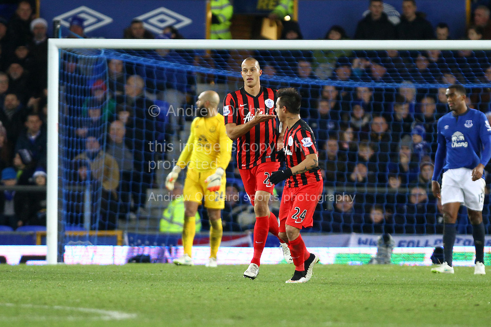 Bobby Zamora of Queens Park Rangers celebrates after scoring his teams 1st goal. Barclays Premier league match, Everton v Queens Park Rangers at Goodison Park in Liverpool, Merseyside on Monday 15th December 2014.<br /> pic by Chris Stading, Andrew Orchard sports photography.