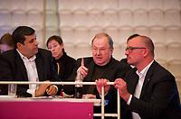 DEU, Deutschland, Germany, Berlin, 27.10.2012:<br />Landesparteitag der Berliner SPD im Berliner Congress Center (BCC) am Alexanderplatz. Hier v.l.n.r.: Raed Saleh, Berliner SPD-Fraktionschef, Heinz Buschkowsky (SPD), Bezirksbürgermeister in Berlin-Neukölln, Jan Stöß, Vorsitzender des SPD-Landesverbandes Berlin.