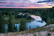 A view from high above the Au Sable River shortly after sunset.