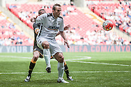 Mike Symons (Hereford FC) controls the ball during the FA Vase match between Hereford and Morpeth Town at Wembley Stadium, London, England on 22 May 2016. Photo by Mark Doherty.