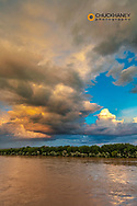Stormy clouds at sunset over the Yellowstone River in Miles City, Montana, USA